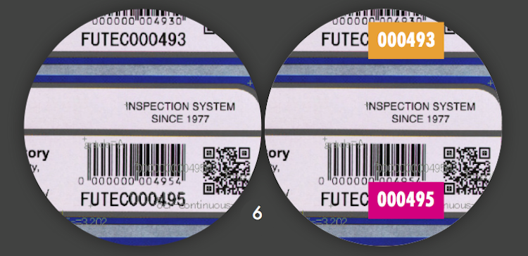 defect 6 OCR serial number